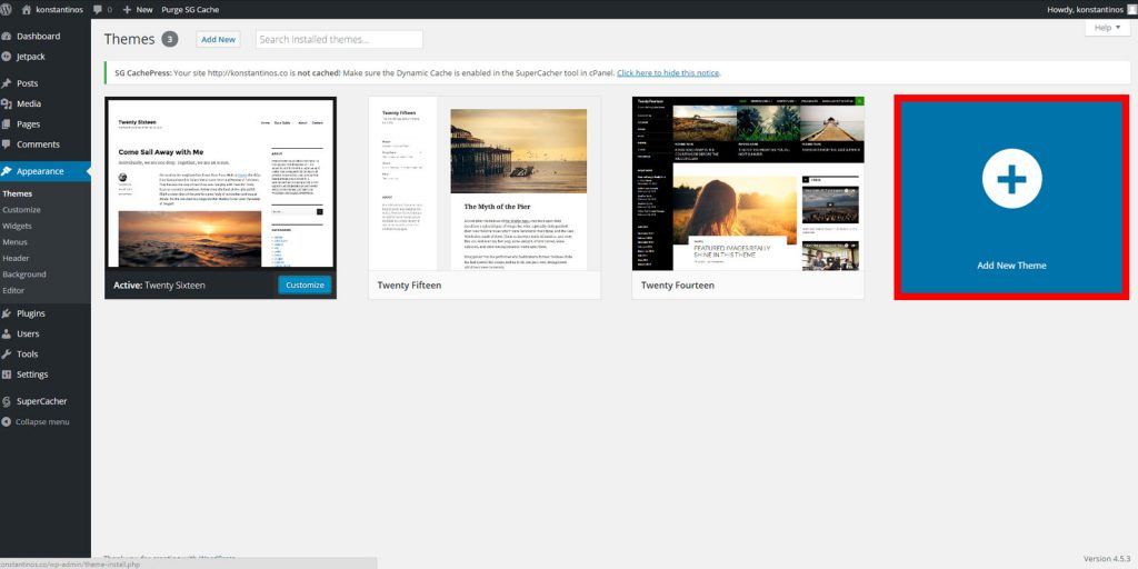 Start a blog - wordpress add new theme