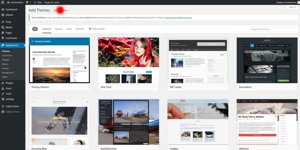 Start a blog - wordpress upload a theme